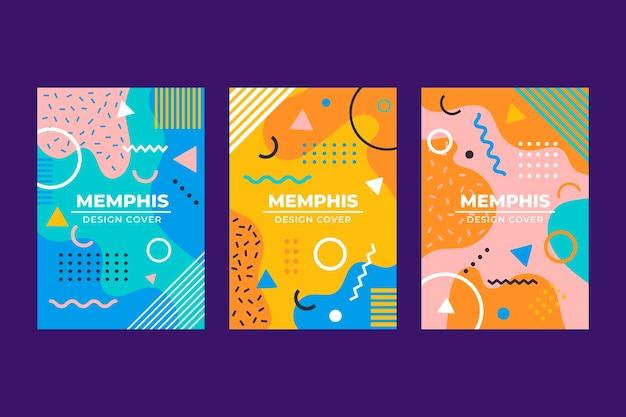 Colección de portadas de diseño de memphis
