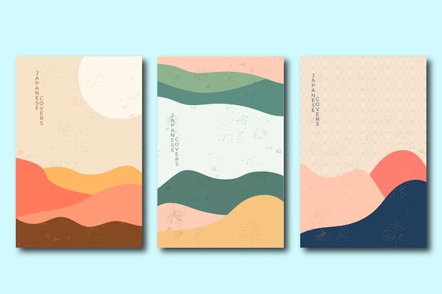 Colección de portadas con diseño minimalista japonés