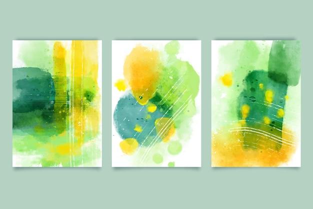 Colección de portadas de formas abstractas de acuarela