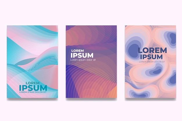Colección de portadas de formas abstractas en colores pastel