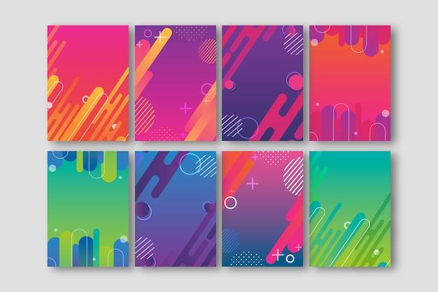 Colección de portadas de formas abstractas de colores vivos