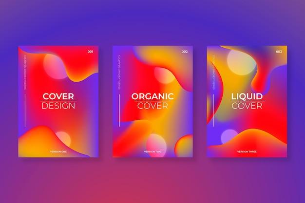 Colección de portadas de formas abstractas con degradado