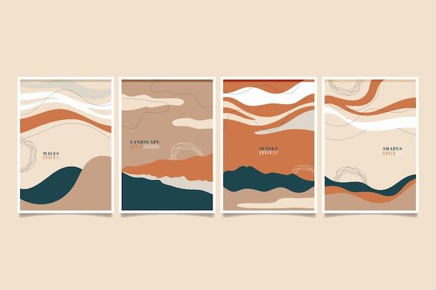Colección de portadas de formas abstractas dibujadas a mano