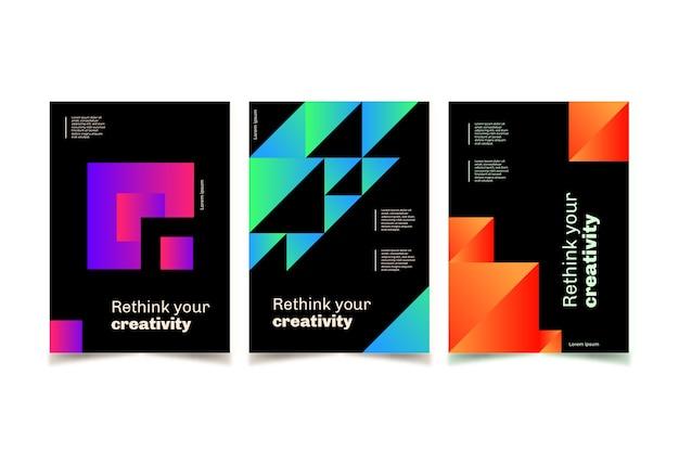 Colección de portadas de formas geométricas gradientes