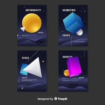 Colección de portadas de formas geométricas sin gravedad