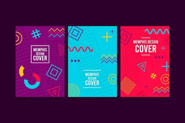 Colección de portadas de formas geométricas de memphis