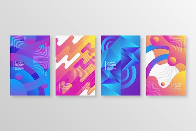 Colección de portadas de formas gradiente abstracta