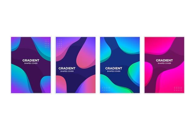 Colección de portadas de formas gradientes abstractas