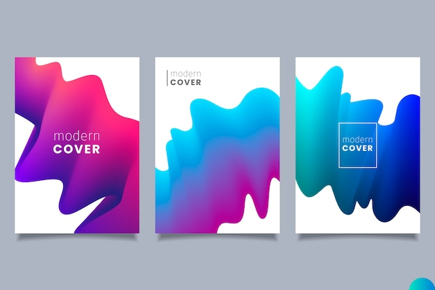 Colección de portadas de formas gradientes