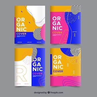 Colección de portadas con formas orgánicas