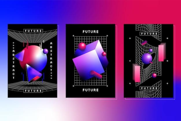 Colección de portadas futuristas en degradado