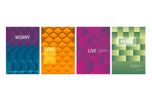 Colección de portadas geométricas abstractas de líneas y puntos