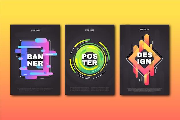 Colección de portadas geométricas de diseño abstracto