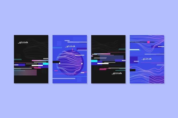 Colección de portadas glitch de diseño gráfico