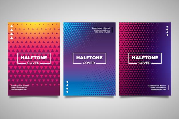 Colección de portadas de gradiente de puntos y medios tonos de polietileno