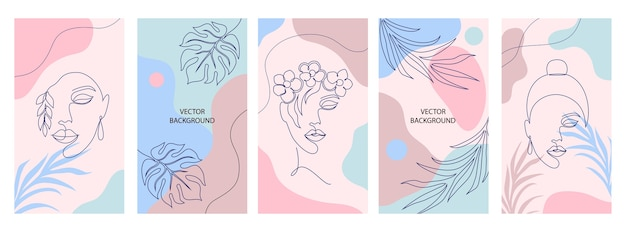 Colección de portadas para historias de redes sociales. concepto de belleza y moda.