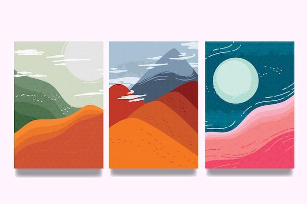 Colección de portadas japonesas de cielo con nubes y dunas