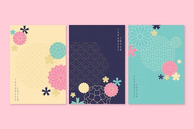 Colección de portadas japonesas con flores en flor