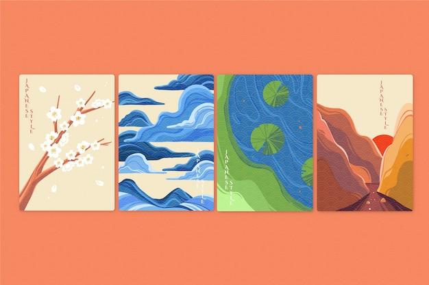 Colección de portadas japonesas minimalistas de paisajes