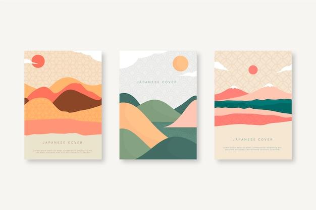 Colección de portadas japonesas con sol y colinas