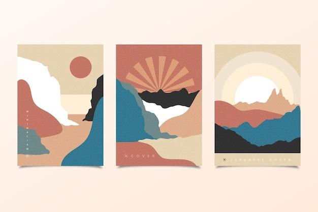 Colección de portadas japonesas de sol sobre las montañas