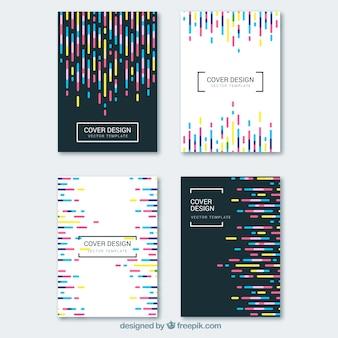 Colección de portadas con líneas coloridas