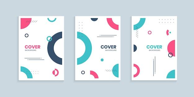 Colección de portadas de memphis con círculos de colores