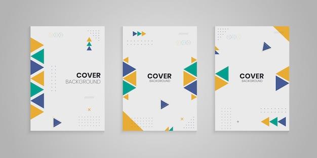 Colección de portadas de memphis con formas coloridas