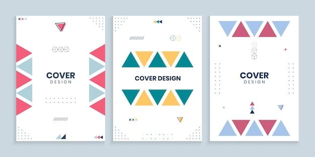 Colección de portadas de memphis con triángulos de colores