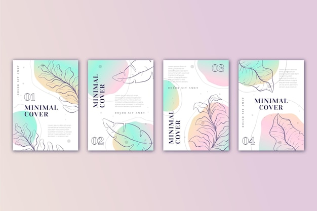 Colección de portadas minimalistas dibujadas a mano en degradado