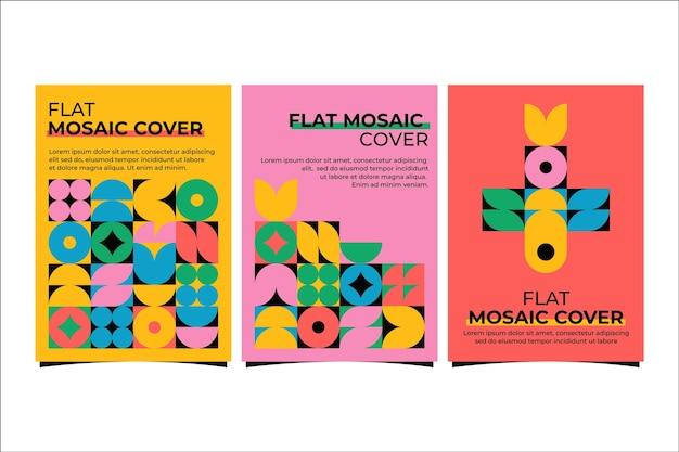 Colección de portadas de mosaico plano