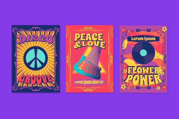 Colección de portadas de música retro psicodélica