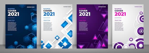 Colección de portadas de negocios abstractos con formas geométricas