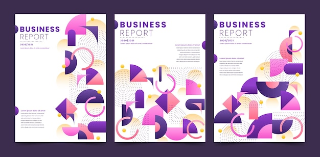 Colección de portadas de negocios geométricos abstractos violetas