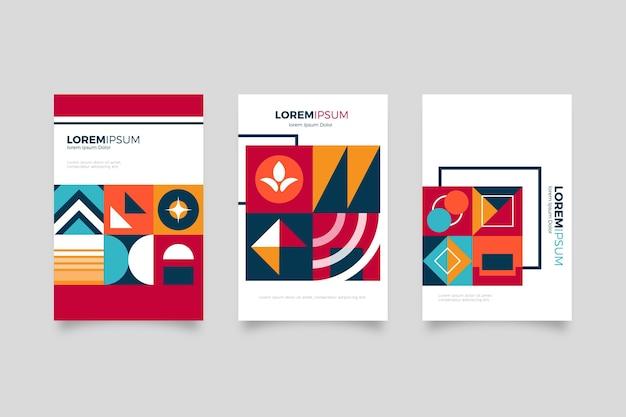 Colección de portadas de negocios posmodernos fondo blanco