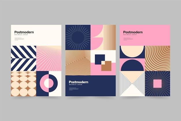 Colección de portadas de negocios posmodernos con formas geométricas