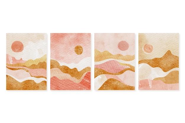 Colección de portadas de paisaje abstracto acuarela pintada a mano
