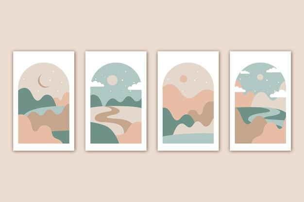 Colección de portadas de paisaje abstracto plano
