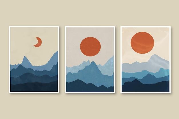 Colección de portadas de paisajes abstractos dibujados a mano