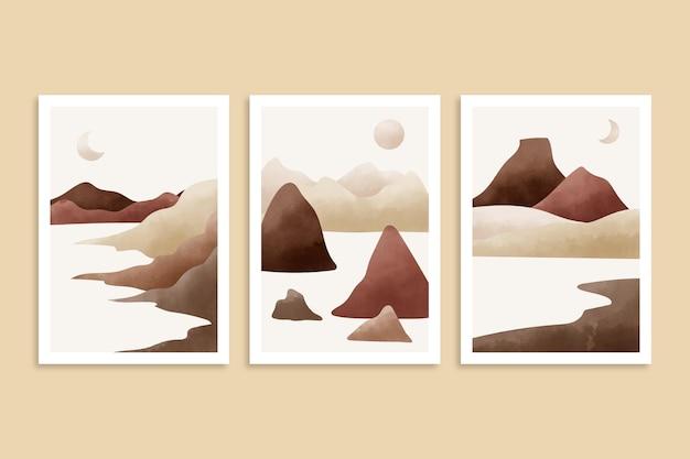 Colección de portadas de paisajes minimalistas en acuarela