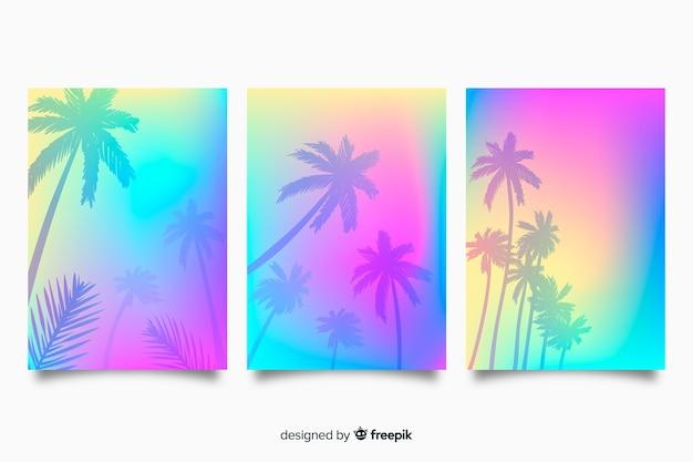 Colección de portadas de playa con degradado