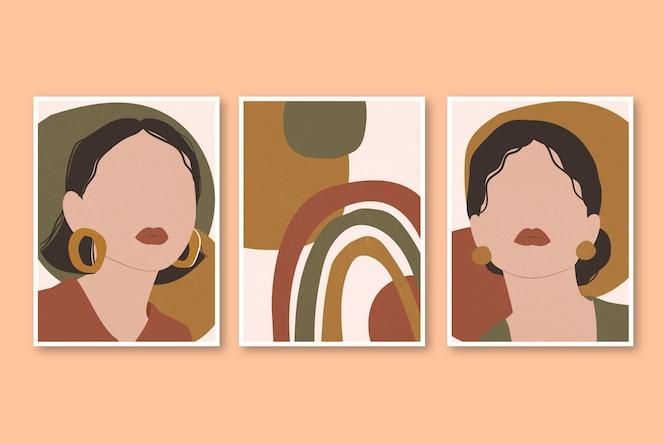 Colección de portadas de retratos de moda dibujados a mano