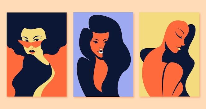 Colección de portadas de retratos de moda plana