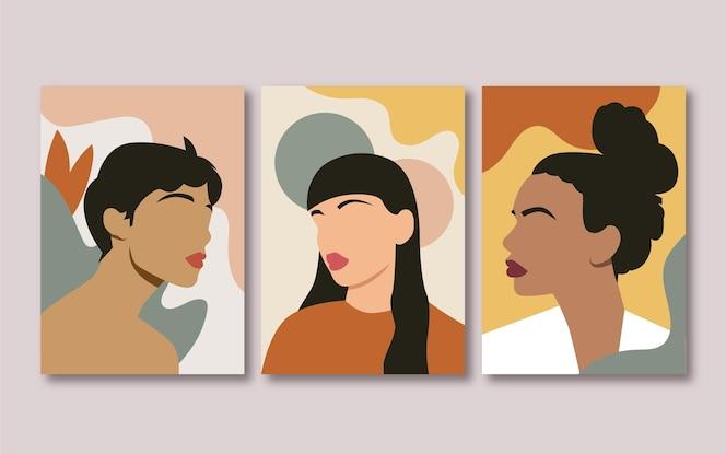 Colección de portadas de retratos planos de moda