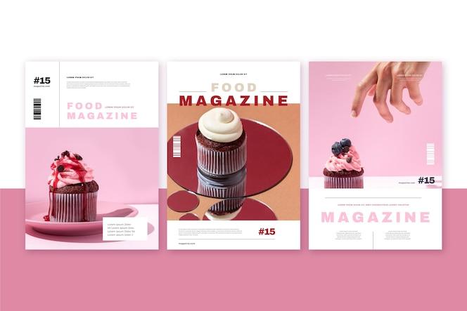 Colección de portadas de revista de comida con foto.