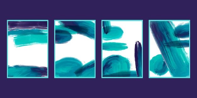 Colección de portadas de stokes de pincel de acuarela