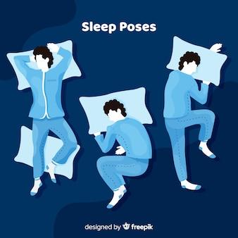 Colección de poses de dormir en estilo flat vector gratuito