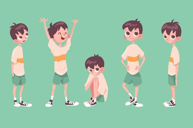 Colección de poses de personajes de niño