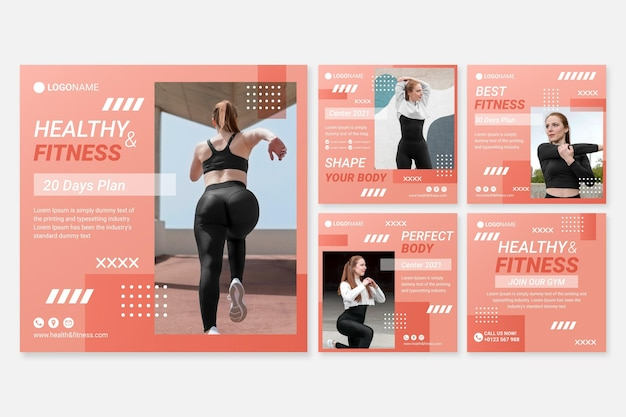 Colección de post fitness plano con foto