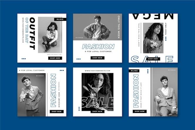 Colección de post de instagram en color azul clásico
